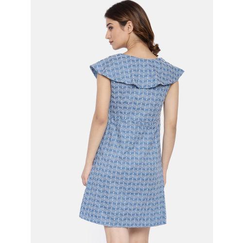 Lee Cooper Women Blue & White Self Design Fit & Flare Dress