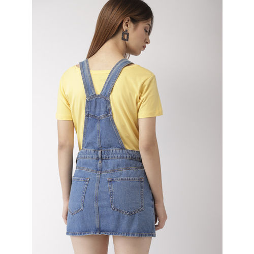 FOREVER 21 Women Blue Solid Pinafore Dress