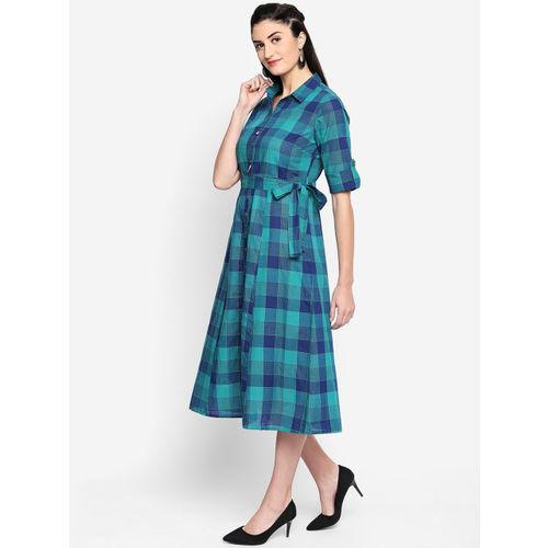 AKKRITI BY PANTALOONS Women Blue Checked A-Line Dress