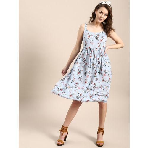 AKS Couture Women Blue Floral Print Empire Dress