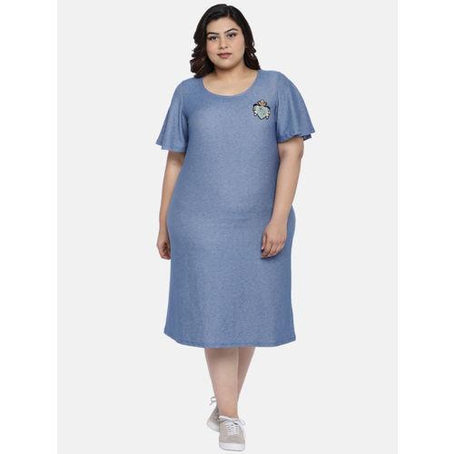 aLL Women Blue Solid T-shirt Dress
