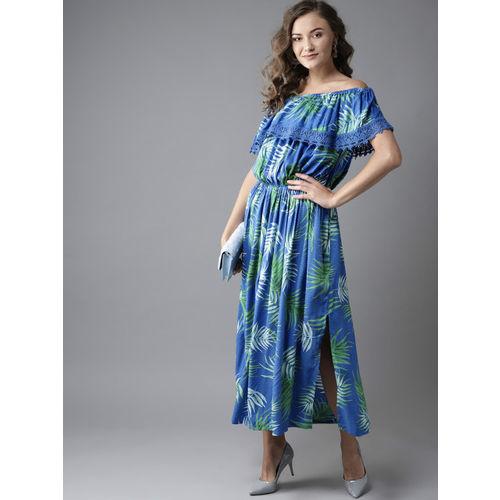 HERE&NOW Women Blue & Green Printed Maxi Dress