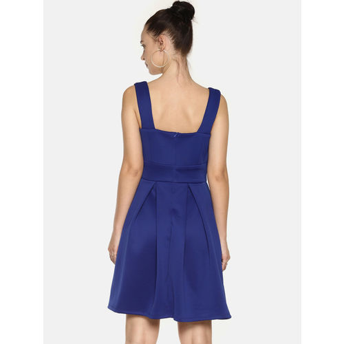 AARA Women Blue Solid Fit and Flare Dress