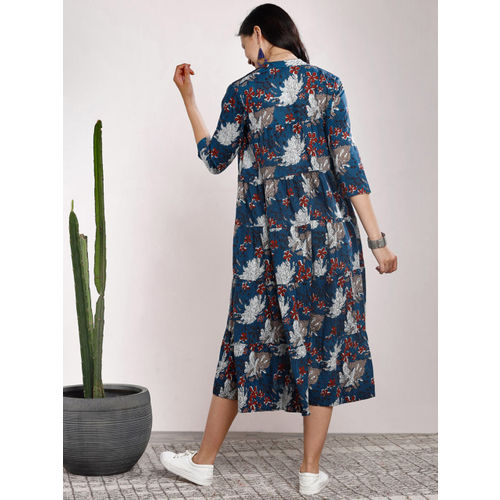 Sangria Women Blue Printed Fit and Flare Dress