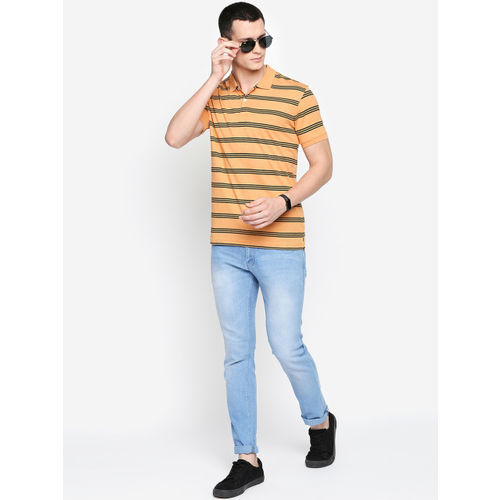 BYFORD by Pantaloons Men Yellow & Black Striped Polo Collar T-shirt