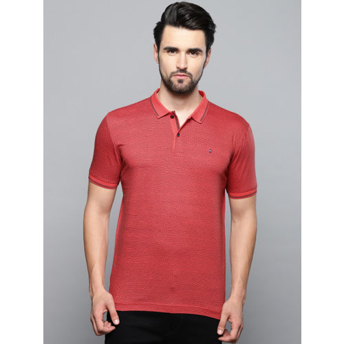 Louis Philippe Sport Men Red & Black Printed Polo Collar T-shirt
