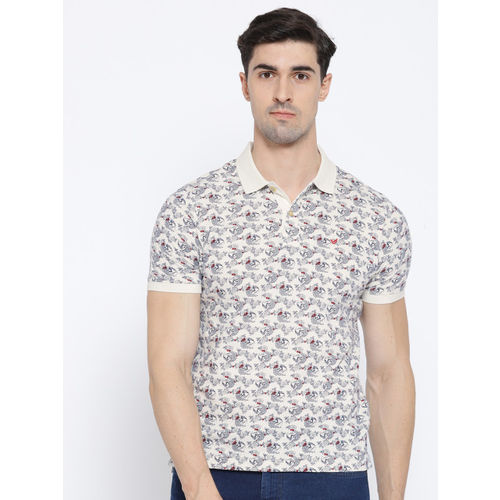 Blackberrys Men Off-White & Navy Printed Polo Collar T-shirt