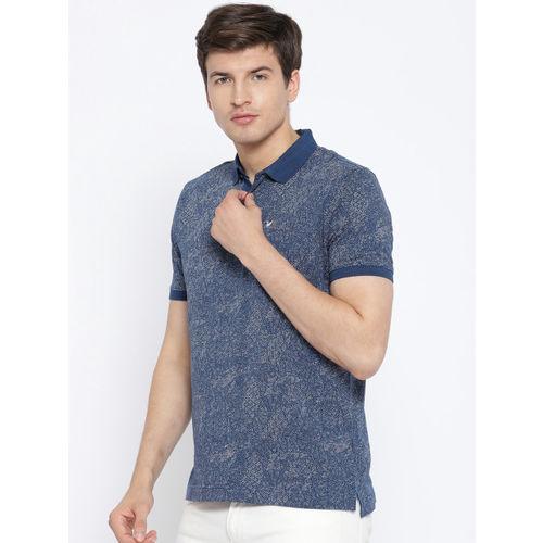 Blackberrys Men Navy Blue Printed Polo Collar T-shirt