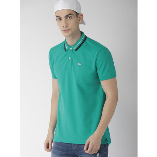 Tommy Hilfiger Green Solid Polo Collar T Shirt