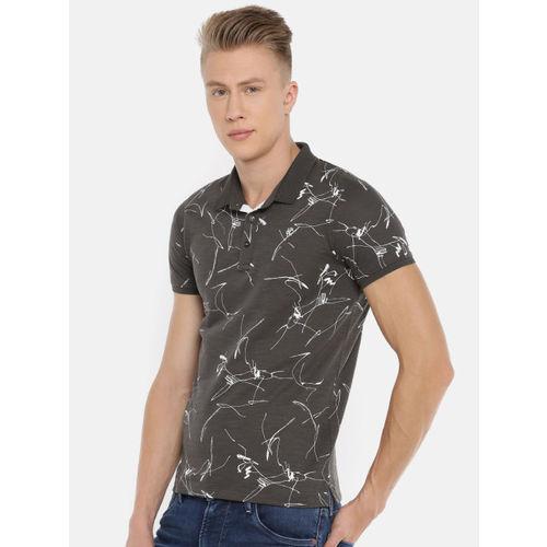 Killer Men Charcoal Grey Printed Polo Collar T-shirt