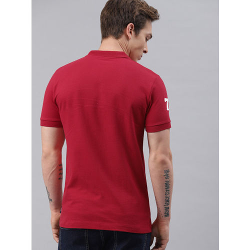 French Connection Men Red Solid Polo Collar T-shirt
