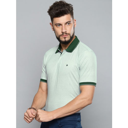 Louis Philippe Men Green Printed Polo Collar T-shirt