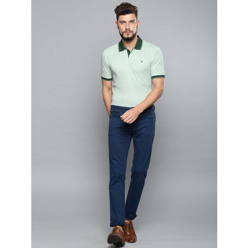 Louis Philippe Men Green Printed Polo Collar T-shirt