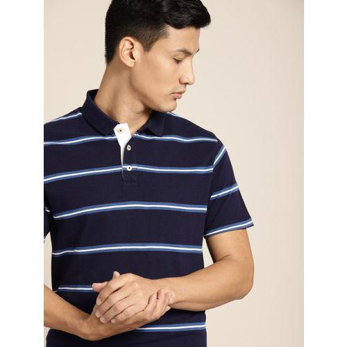 INVICTUS Men Navy Blue & White Striped Polo Collar T-shirt