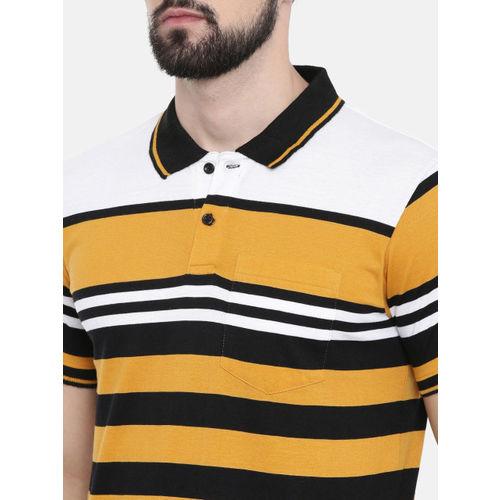 IMYOUNG Men Yellow Striped Polo Collar T-shirt