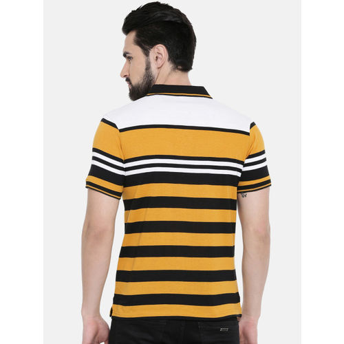 IMYOUNG Men Yellow Striped Polo Collar T-shirt