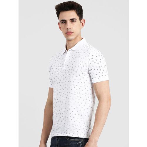 COBB Men White Printed Polo Collar T-shirt