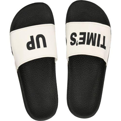 Shoe Island Feminae Stylish Fancy White Time's Up Printed Women Indoor Outdoor Flat Slippers Sliders Flip Flops Girls Slides