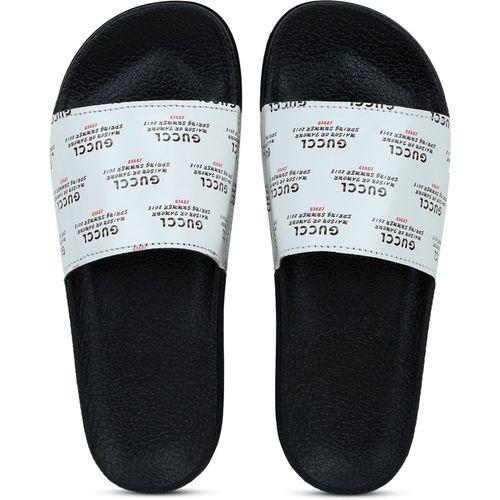 Shoe Island Feminae Stylish Fancy White Printed Women Indoor Outdoor Flat Slippers Sliders Flip Flops Girls Slides Slides