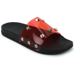 Shoe Island Feminae Stylish Fancy Red Transparent Women Indoor Outdoor Flat Slippers Sliders Flip Flops Girls Slides Slides