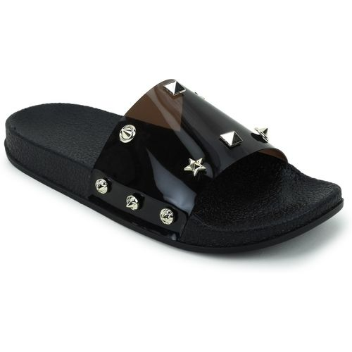 Shoe Island Feminae Stylish Fancy Black Transparent Women Indoor Outdoor Flat Slippers Sliders Flip Flops Girls Slides Slides