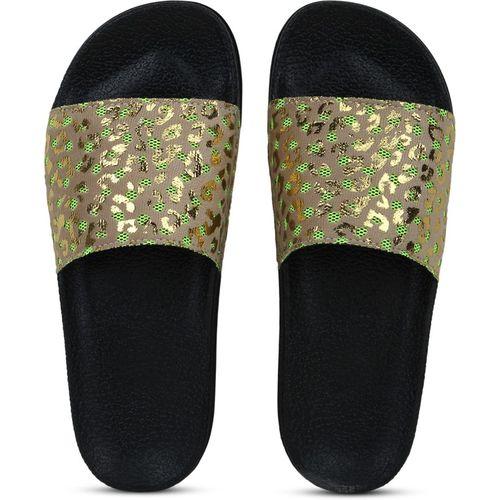 Shoe Island Feminae Stylish Fancy Beige Cheetah Print Party Women Indoor Outdoor Flat Slippers Sliders Flip Flops Girls Slides Slides