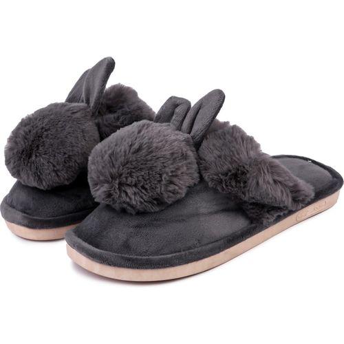 Brauch Grey Fur Bunny Winter Slides
