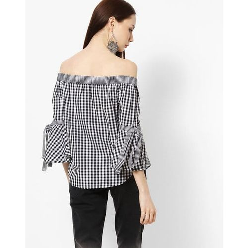 MADAME Checked Off-Shoulder Top with Tie-Up Sleeves
