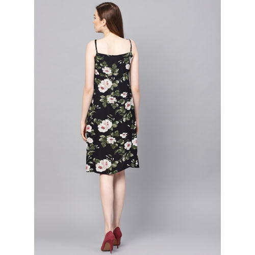 Kazo Black & Pink Printed A-Line Dress