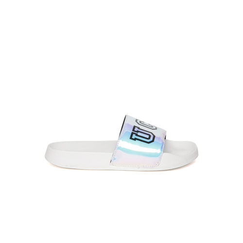 United Colors of Benetton Women Blue & Purple Printed Sliders