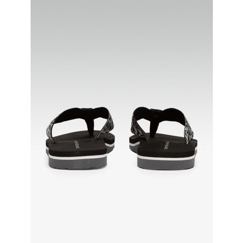 Tommy Hilfiger Women Black & Grey Printed Thong Flip-Flops