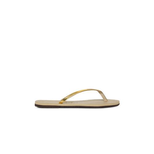 Havaianas Women Gold-Toned Solid Thong Flip-Flops
