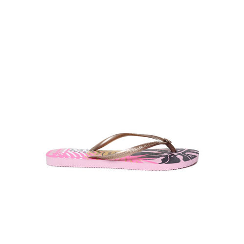 Havaianas Women Gold-Toned Printed Thong Flip-Flops