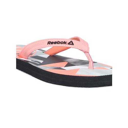 Reebok Women Coral Pink Printed Cash Thong Flip-Flops DV7415