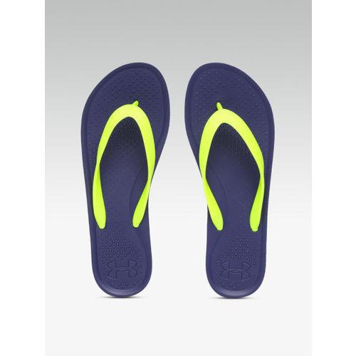 UNDER ARMOUR Women Lime Green & Navy AtlanticDune Thong Flip-Flops