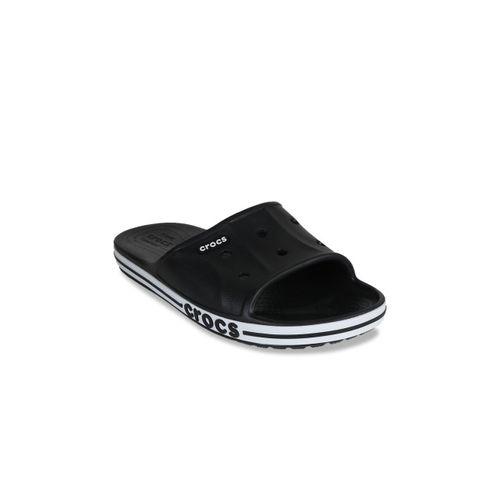 Crocs Women Black & White Solid Sliders