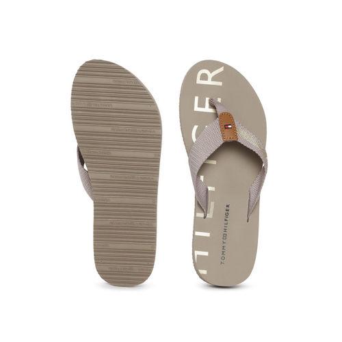 Tommy Hilfiger Women Grey Striped Thong Flip-Flops