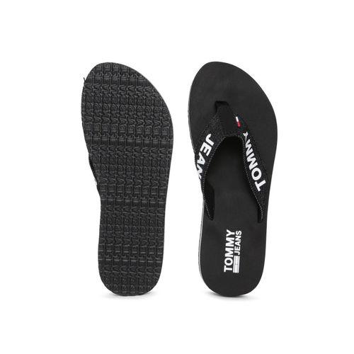 Tommy Hilfiger Women Black Printed Thong Flip-Flops