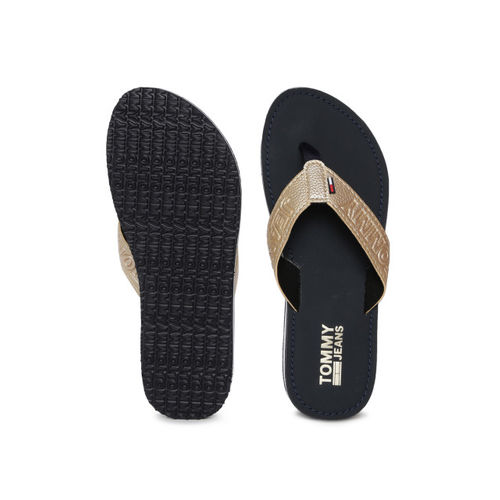 Tommy Hilfiger Women Gold-Toned Printed Thong Flip-Flops