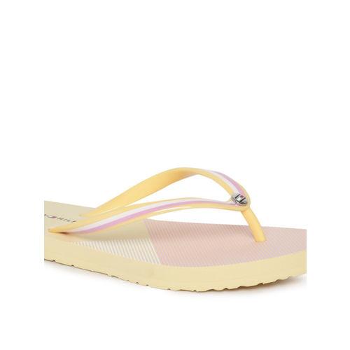 Tommy Hilfiger Women Yellow & Pink Colourblocked Thong Flip-Flops