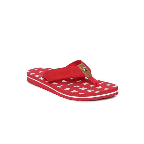 Tommy Hilfiger Women Red Printed Thong Flip-Flops