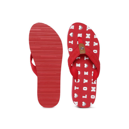 Tommy Hilfiger Women Red Printed Thong Flip-Flops