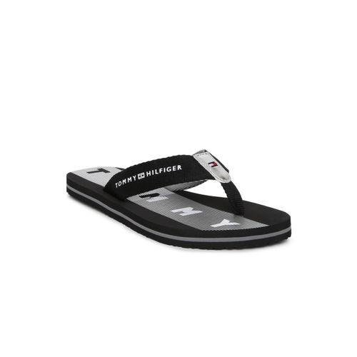 Tommy Hilfiger Women Black & White Printed Thong Flip-Flops