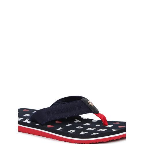 Tommy Hilfiger Women Navy Blue & White Printed Thong Flip-Flops