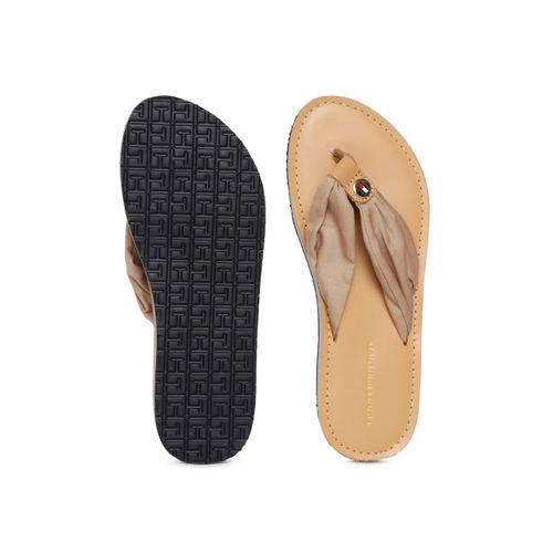 Tommy Hilfiger Women Beige Solid Thong Flip-Flops