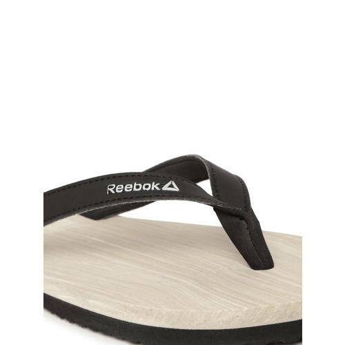 Reebok Women Black & Off-White Printed Jane Thong Flip-Flops