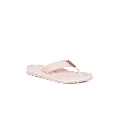 Tommy Hilfiger Women Peach-Coloured Printed Thong Flip-Flops