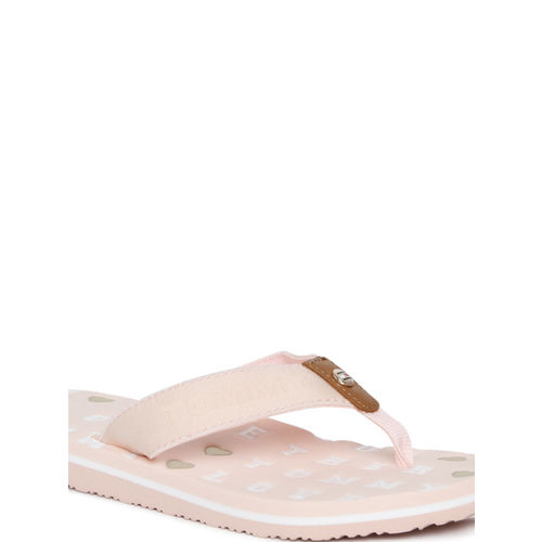 Tommy Hilfiger Women Peach-Coloured Printed Thong Flip-Flops