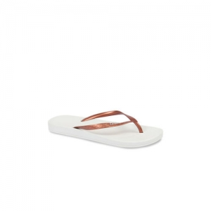iPanema Women Copper-Toned & White Textured Thong Flip-Flops