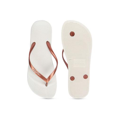 iPanema Women Copper-Toned & White Textured Thong Flip-Flops